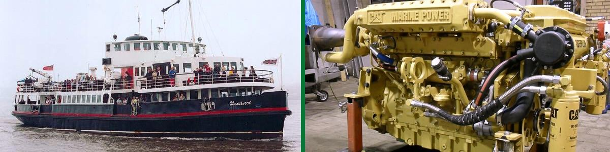 Ferry and Caterpillar Marine Power Engine